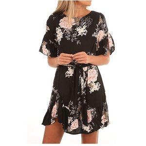 Sexy Floral Pattern Ruffle Hem Chiffon Dress